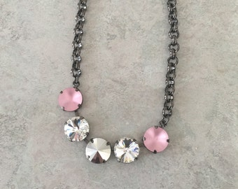 Matte Pink Swarovski Necklace