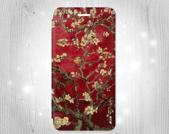 Red Blossoming Almond Tree Van Gogh Leather Flip Case For iPhone 7 7 Plus 6S 6 6+ SE 5 Samsung Galaxy S7 Edge S6 Edge Plus S5 Note 5 4