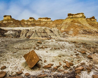 Stone and desert landscape from Bisti Badlands, New Mexico. Photograph printed on canvas.