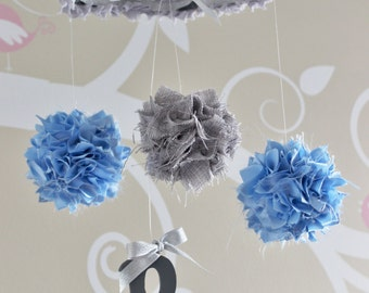 Blue and gray mobile, shabby chic baby boy nursery mobile, burlap pom pom initial monogram mobile