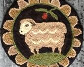 "Sheep PDF Rug Hooking Pattern. PDF digital download. ""Miss Woolsey"" primitive chair pad. Approx. 14"" round."