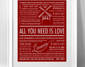 "MOULIN ROUGE, ""All You Need Is Love"" Typography Print"