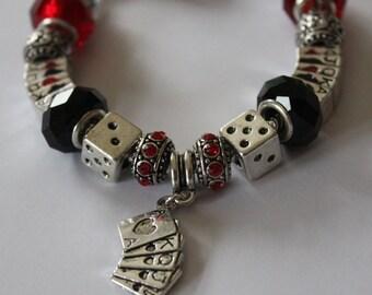 Casino themed charm bracelet - gift - Las Vegas