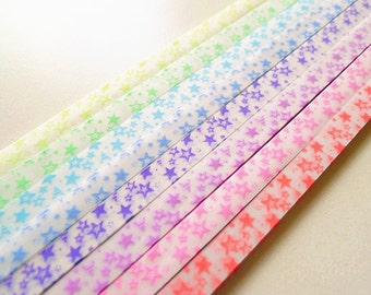 240 Stripes Starry Vellum Glow in the Dark Origami Lucky Star Paper Strips - Pack of 8 Colors