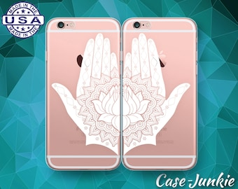 White Henna Hands Pair Case Best Friends iPhone 5 iPhone 5C iPhone 6 Plus iPhone 6s iPhone 6s Plus and iPhone SE iPhone 7 Plus Clear Case