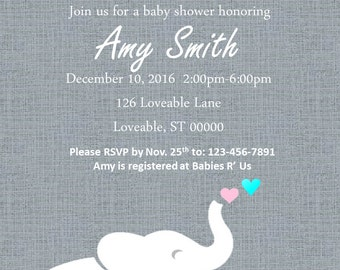 Baby Elephant Baby Shower Invitation