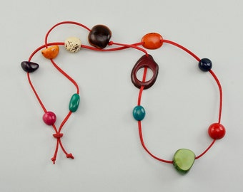 Multicolor tagua necklace, long red cord necklace, ethnic necklace, statement collar, beaded jewelry, rainbow necklace, colorful jewelry.