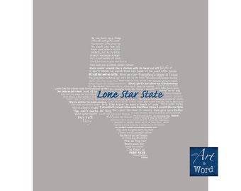 Texas Digital Print, Texas Humor, Digital Art Print, Digital Download, Typography, Printable Art, Funny, Instant Download, Lone Star State