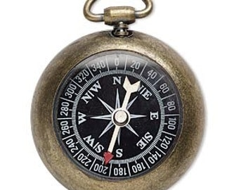 Compass, antiqued brass compass, working compass pendant, Steampunk focal, 59x45mm, 1 each, D710