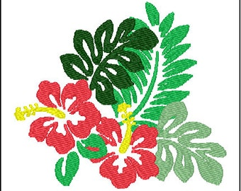 Hawaiian Hibiscus Flower Embroidery Design