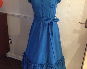 1970s Marion Donaldson ruffle sun dress, Fits uk size 12.