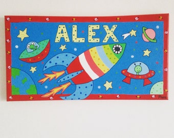 Nursery space rocket personalised canvas