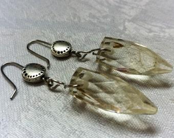 Crystal Earrings - Earrings with dandelion - Рarachutes in resin
