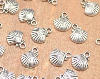 30pcs of Antique Silver Seashell Charms/Starfish Seashell pendants/shell charm/beach jewelry--14x12mm