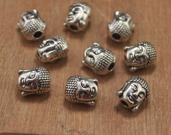 20pcs Buddha Head Bead Charms Antiqued Silver Double Sided 3D  Buddha Head Bead Pendant--9x10mm.