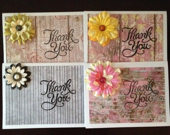 Handmade Thank You Cards  Variety Pk  (4)