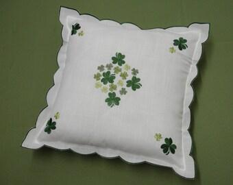 Shamrock Embroidered Irish Clover Cushion Cover S210
