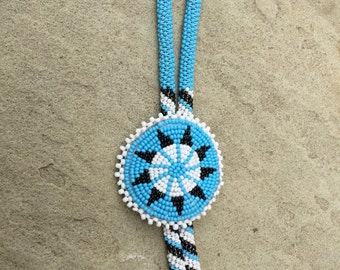Necklace Beaded Native American Hand Made Bolo