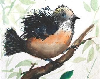 Original painting of bird on branch Watercolor bird painting Animal art tree branch nursery art Kids room decor Original artwork