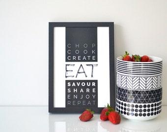 EAT > kitchen print / dining room verbs / brush lettering & typography art print / housewarming gift