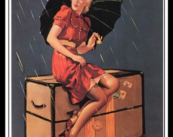 "Gil Elvgren Vintage Pinup Illustration ""Disturbing Elements"" Sexy Pinup Mature Wall Art Deco Book Print 5.5"" x 4"""