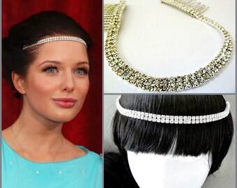 Celebrity Forehead Headband ,Rhinestone Headpiece ,Bridal Rhinestone headband, Bridal Crystal Headband, Celebrity Hair jewelry ,Bridal Tiara
