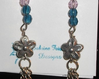 Blue and pink beads, silver flower