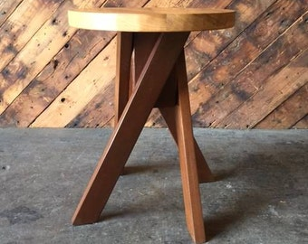 Reclaimed Wood Side Table Plant Stand