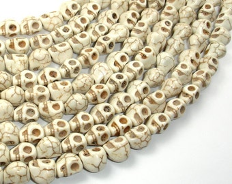 White Howlite Beads, 8mm x 10mm Skull Beads, 15.5 Inch, Full strand, Approx 40 beads, Hole 1 mm (275077009)