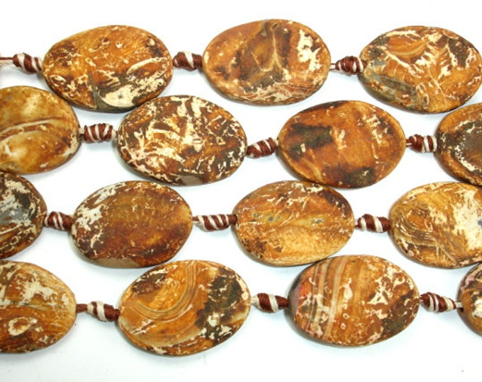 Matte Tibetan Agate Beads, Approx 20 x 30mm Twisted Oval Beads, 14.5 Inch, Full strand, 10 beads, Hole 2.2 mm (122070044)