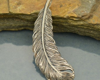 Sterling Silver, Feather Pendant, Feather Charm, Feather Jewelry, Bird Pendant, Bird Charm, Bird Jewelry, Silver Feather, Bronze Feather