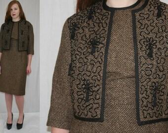 Vintage 60s Minx Modes Brown Black Tweed Tassel Jacket Scooter Dress Set Suit M