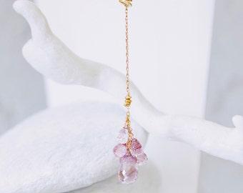 14kt Gold Amethyst Lariat Necklace. 14kt Gold Filled. Modern, Fashionable, Unique Design. Karen Hill Tribe Gold Vermeil Beads.