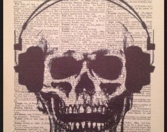Skull Skeleton Wall Art Vintage Dictionary Page Print Picture Headphones Earphones