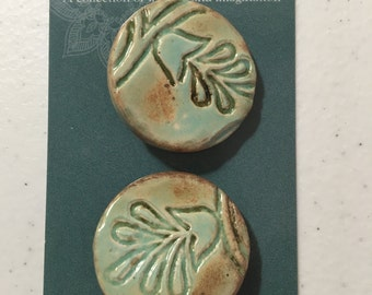 2 ceramic Tahitian blue buttons 30mm FREE SHIPPING