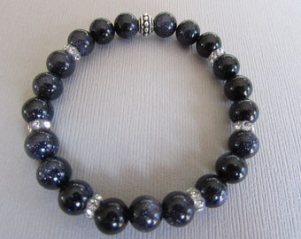 Yoga Bracelet! Blue Goldstone and Swarovski Crystal Stretch Bracelet