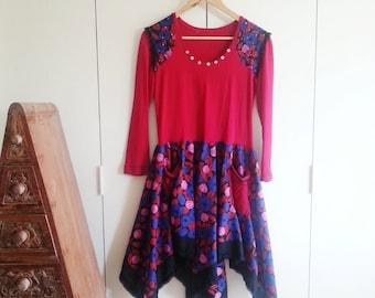 Handmade Dress - Boho Dress - Vintage Dress - Eco Clothing - Upcycled Clothing - Shabby Chic - Rustic - Festival - Wearable Art - Vintage