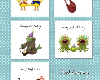 Final Fantasy Inspired Greetings Card Pack - 5 Cards with different designs!
