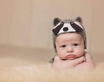 Crochet Raccoon Baby Hat & Diaper Cover
