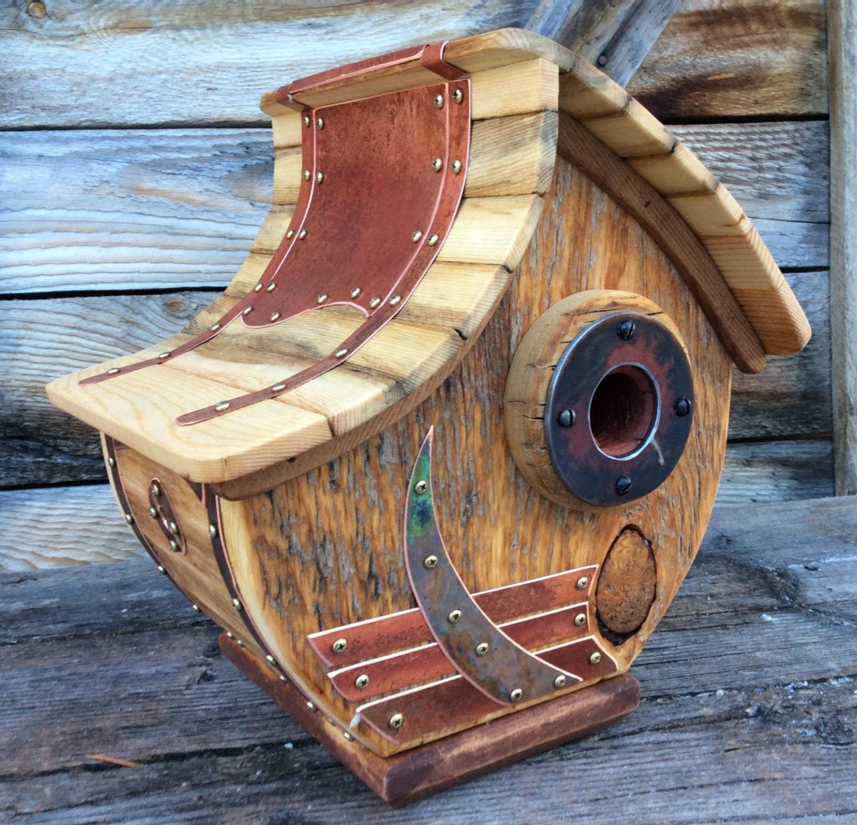 Unique Barnwood Copper Birdhouse Reclaimed Recycled Handmade