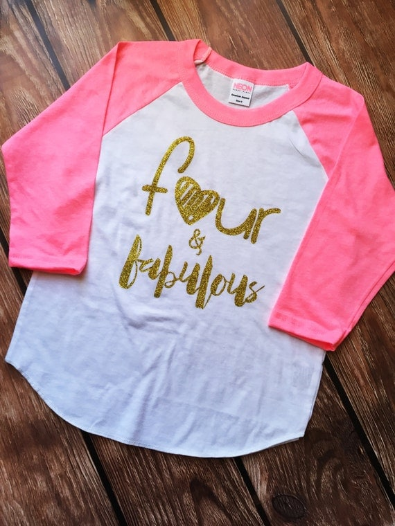 Four And Fabulous BIRTHDAY SHIRT Fourth BIRTHDAY Shirt