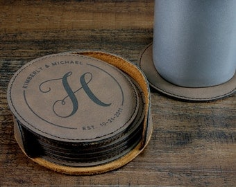 Monogrammed Leather Coaster Set, Customized Coasters, Engraved Coasters, Personalized Engraved Gift, Wedding Gift, Couples Gift idea