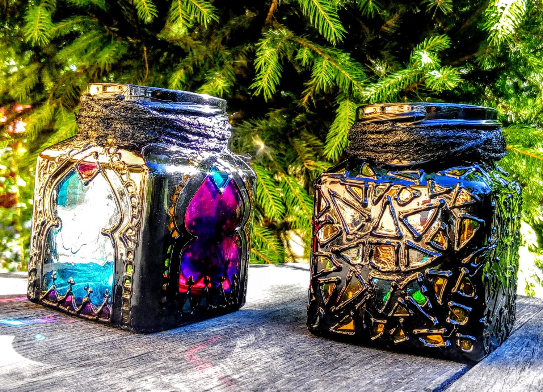 lanterne marocaine bougeoir bocal verre vitrail fait par. Black Bedroom Furniture Sets. Home Design Ideas