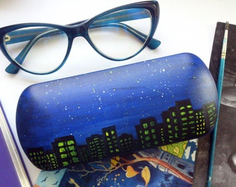 Glasses case Night city - night art - city accessories  - gift for girlfriend - gift sunglasses case - night sky
