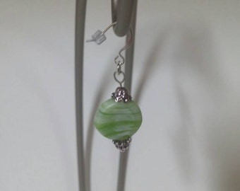 Green & white swirl glass earrings
