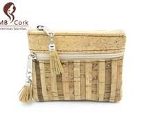 MB Cork cork coin  purses  cork wallet stripe tassel women purses girl purses Vegan purses