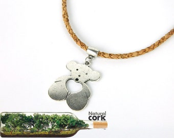 Portugal Cork necklace,natural cork,Spain fashion bear necklace Environment-friendly materials