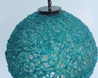 Vintage Blue Lucite Spaghetti  Hanging Swag Lamp