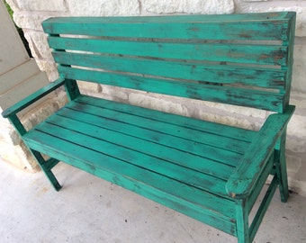 Rustic torquoise Country Bench