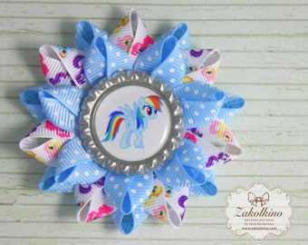 Set of Rainbow Dash - My Little Pony hair bow  - Loopy Flower hair clips - Rainbow Dash hair bow - Little Pony Party - My Little Pony Dress